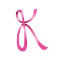 pink ribbon lettermark initial k symbol logo vector image