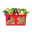 plastic shopping basket full vegetables vector image