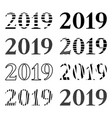 set of inscription 2019 in different variations vector image