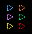 set of neon pointers on a black background vector image vector image