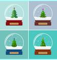 set snow globes with christmas tree vector image