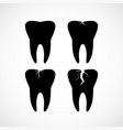 simple black tooth icons vector image vector image