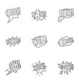 slang icons set outline style vector image