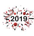 white 2019 new year background with red bow and vector image
