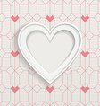 White frame in heart shape and geometric pattern vector image