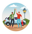 young friends traveling with car vector image