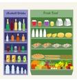 Supermarket shelves flat vector image