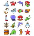 marine and nautical icons set vector image