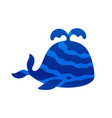 blue color stylized cute whale vector image vector image