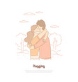 boyfriend and girlfriend hugging friends vector image vector image