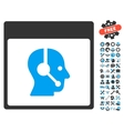Call Center Operator Calendar Page Icon vector image vector image