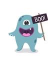 cartoon cute monster mascot vector image vector image