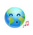 cartoon earth face singing icon funny planet vector image vector image
