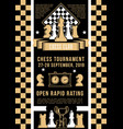 chess tournament game pieces and timer vector image
