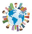 children playing around world vector image vector image