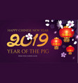 chinese new year background with 2019 lettering vector image