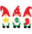 christmas gnomes in red hats with vector image vector image