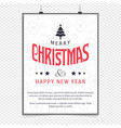 christmas greetings card design with white vector image vector image
