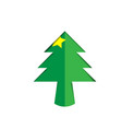 christmas tree green paper cutout with star vector image