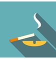 Cigarette and ashtray icon flat style vector image vector image