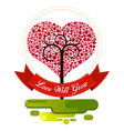 combination of heart and tree ornament vector image vector image