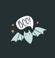 cute and scary bat and text bubble halloween card vector image vector image