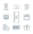 dark outline various kitchen devices set vector image