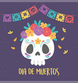 day dead catrina skull flowers and bunting vector image vector image