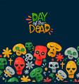 day dead cute watercolor mexican cartoon card vector image vector image