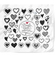 doodle hearts on realistic white paper background vector image vector image