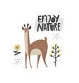 enjoy nature scandinavian lettering vector image vector image