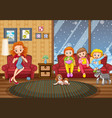 family stay at home in winter vector image vector image