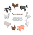 farm animals 3d banner card circle isometric view vector image