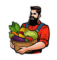 farmer holding a basket full of vegetables vector image vector image