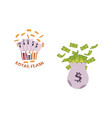 flat cartoon big bag with dollar cash vector image