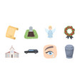 funeral ceremony icons in set collection for vector image vector image