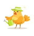 funny chicken gardener wearing a green hat vector image vector image