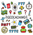 geocaching colorful doodle drawing equipment set vector image