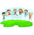 happy cute kids jumping on green meadow and blue vector image vector image