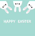 happy easter three white bunny rabbit hanging vector image vector image
