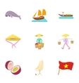 Holiday in Vietnam icons set cartoon style vector image vector image