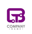 letter b and t icon technology smart logo vector image vector image
