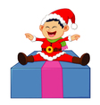 little santa sitting on gift box vector image vector image