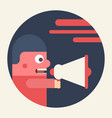 man shouting through loudspeaker vector image