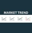 market trend icon set four simple symbols in vector image vector image