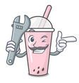 mechanic raspberry bubble tea character cartoon vector image vector image