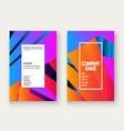 minimal cover set design neon blurred orange vector image