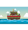 Noah Ark with animals in sea and sky vector image vector image