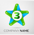 number three logo symbol in the colorful star on vector image vector image