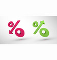 percentage decrease and growth 3d icons vector image vector image